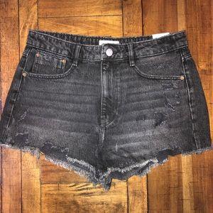 Zara High Waist Denim Distressed Shorts